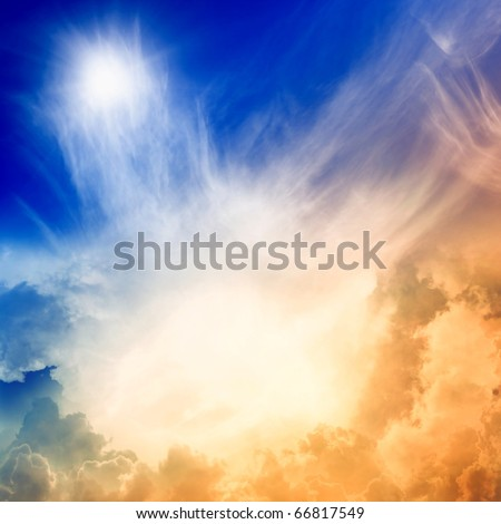 Impressive view from heaven with bright sun and clouds - stock photo