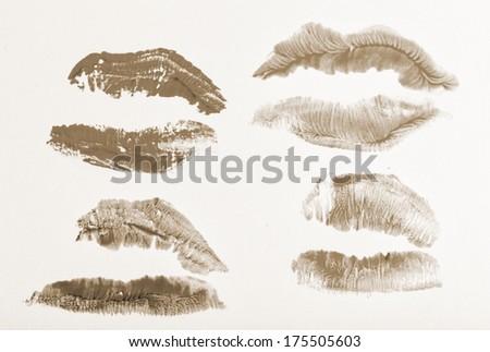 Imprint of lipstick passionate female lips closeup shot - stock photo