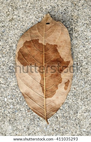 Imprint of the Africa continent map on a browning leaf.  - stock photo