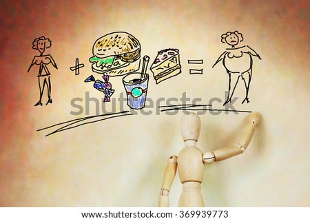 Improper nutrition and the problem of excess weight. Abstract image with a wooden puppet - stock photo