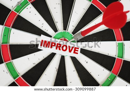 Improve Concept and a dart in center of target - stock photo