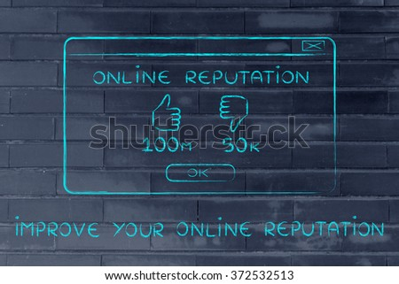 improve your online reputation: pop-up window with thumbs up & positive results - stock photo
