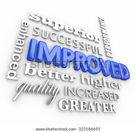 Improved word collage in 3d letters including enhanced, better, quality, superior, success, increased, performance results - stock photo