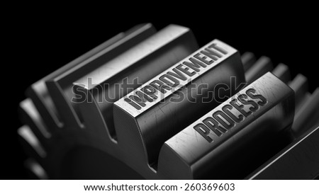 Improvement Process on the Metal Gears on Black Background.  - stock photo