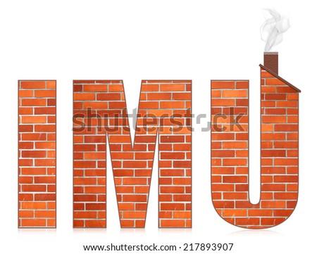 IMU italian municipal tax on buildings. Isolated on white background. - stock photo