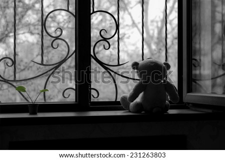In a deep depression, black&white, concept - stock photo