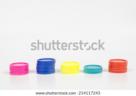 in a row, trolley tokens - stock photo
