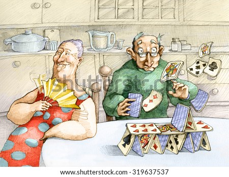 in an elderly couple he builds a house of cards and she destroys fanning herself with her fan without notice - stock photo