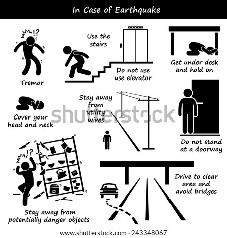 In Case of Earthquake Emergency Plan Stick Figure Pictogram Icons - stock photo