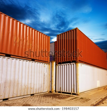 In China's container terminal, container night. - stock photo
