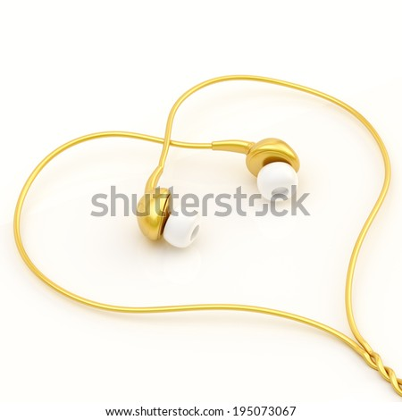 In-ear golden headphones forming a heart shape over the white glossy surface - stock photo