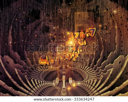 In Fourth Dimension series. Backdrop composed of dimensional fractal structures and numbers and suitable for use in the projects on education, math, science and technology - stock photo