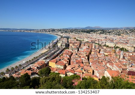In France, NICE on the french riviera is famous for its annual carnival and the panorama on the angels bay. - stock photo