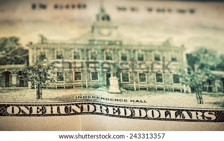 In God We Trust motto on One Hundred Dollars bill. Conceptual, The United States of America - stock photo