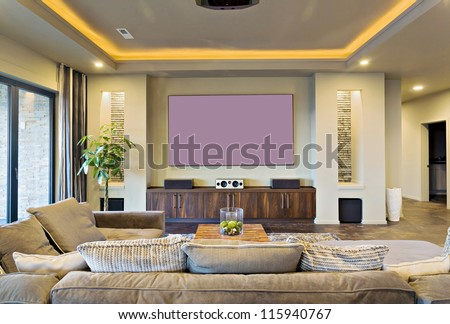 In-Home Theater in Luxury Home - stock photo