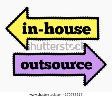 In-house and outsource signs in yellow and purple arrows concept - stock photo