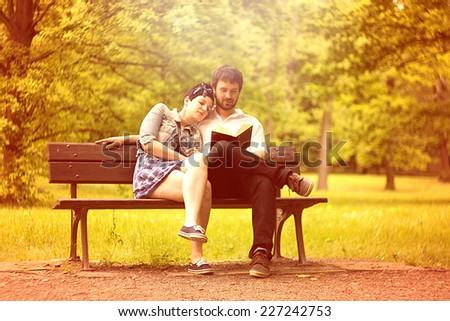 in love couple in sunset autumn nature - stock photo