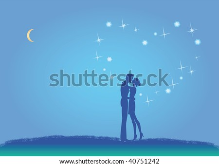 In love pair under constellation in form heart - stock photo