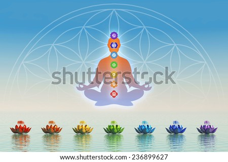 In Meditation With Chakras - stock photo