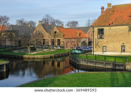 In open-air museum on a sunny winter evening, Enkhuizen, The Netherlands - stock photo