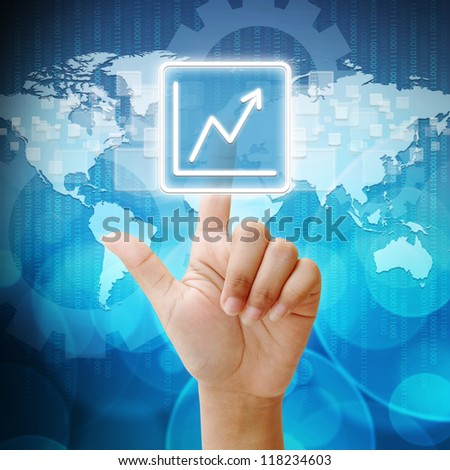 In press Business Graph icon on business background blue color - stock photo