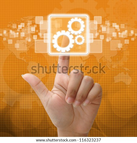 In press team work symbol for business concept - stock photo