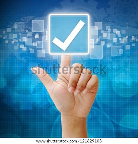 In press Tick icon on business background blue color - stock photo