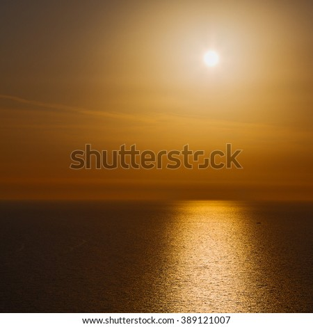 in santorini greece sunset and    the sky mediterranean res sea - stock photo
