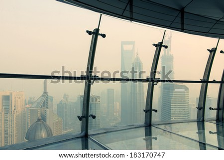 In Shanghai's air corridor - stock photo
