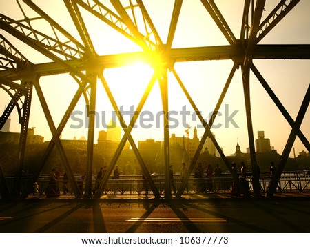 In Shanghai Waibaidu, morning - stock photo