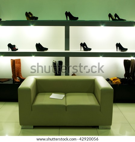 In shoe shop. Element of design. - stock photo