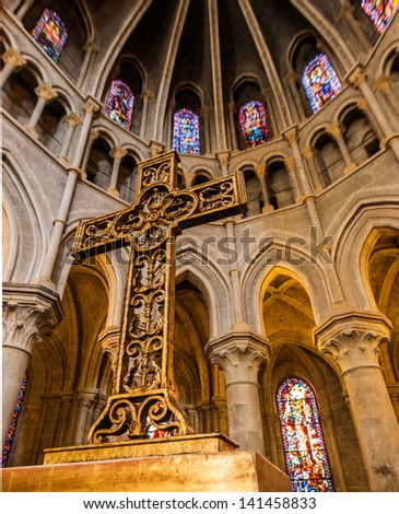 In side of Notre-Dame Cathedral - Lausanne, Switzerland - stock photo