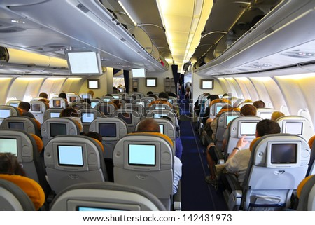 In the airplane - stock photo