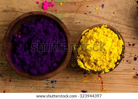 In the colour wheel, complementary colours sit opposite one another: the primary yellow and the secondary violet. - stock photo
