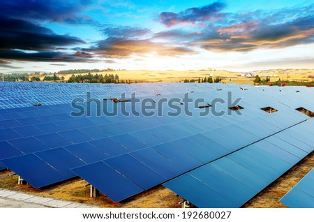 In the evening, when the solar panels - stock photo
