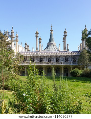 In the grounds of the Royal Pavilion a former Royal residence located in Brighton, England East Sussex - stock photo