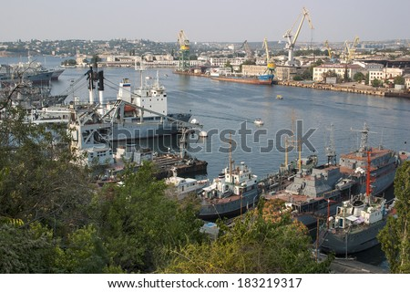 In the port of Sevastopol. Crimea. - stock photo