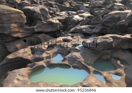 In the river basin. - stock photo