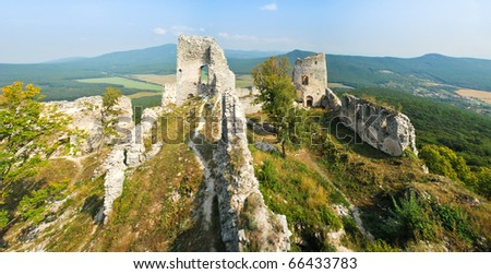 In the ruins of the magnificent castle - stock photo