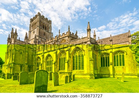 In the small Gloucestershire Cotswold town of Northleach the church of St Peter and St Paul lays claim to 12'th century origins. Part of the church dates back to at least the 12th century - stock photo