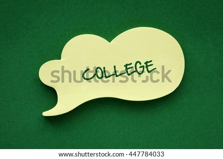In the speech balloon on a green background College writes - stock photo
