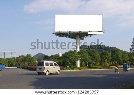 In the summer blue sky highways and billboards - stock photo