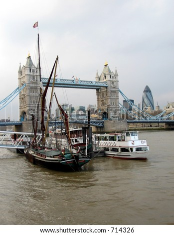 In the vicinity of Tower Bridge - yachts, boats, river banks - stock photo