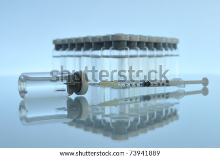 In the world of drugs / Many others photos of vials, syringes, needles in my portfolio. - stock photo