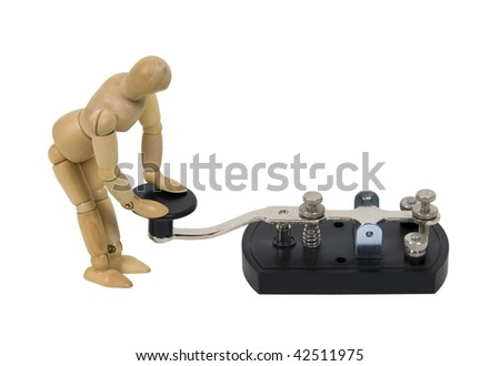 In touch with communication shown by model with antique telegraph key used for Morse Code - path included - stock photo