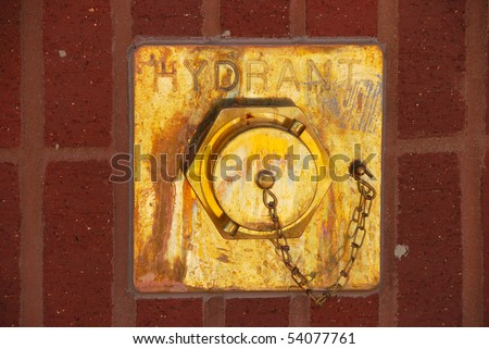 In wall fire hydrant - stock photo