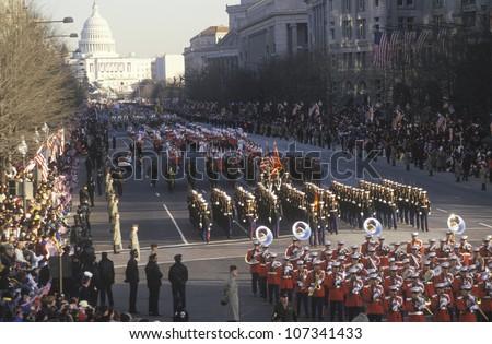 Inaugural Parade down Pennsylvania Avenue on Bill Clinton's Inauguration Day January 20, 1993 in Washington, DC - stock photo