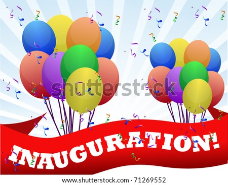 Inauguration banner and balloon sign and rays of light - stock photo