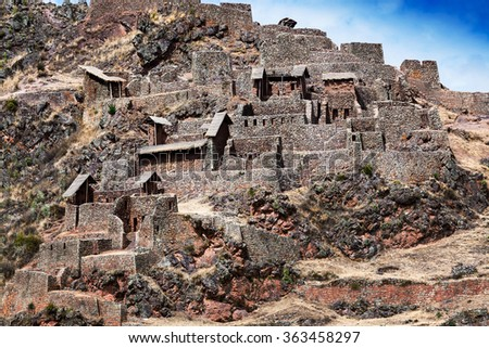 Inca ancient fortress in the mountains - stock photo