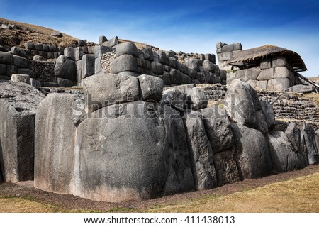 Inca ancient stronghold on a sunny day - stock photo